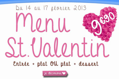 menu st valentin flunch