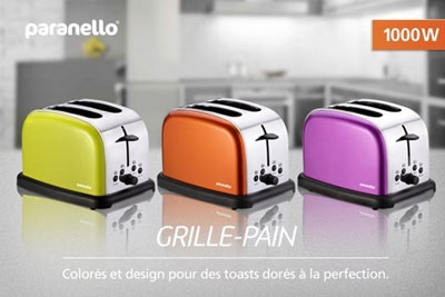 toaster grille pain design paranello 3 coloris au choix 24 90 au lieu de 59. Black Bedroom Furniture Sets. Home Design Ideas