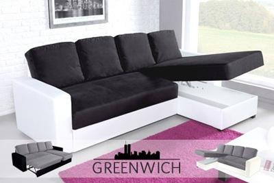 canap d 39 angle greenwich convertible 5 places 549 90 au lieu de 1199. Black Bedroom Furniture Sets. Home Design Ideas