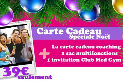 Carte cadeau Noël spécial coaching sport + 1 invitation au club Med Gym à 39 €